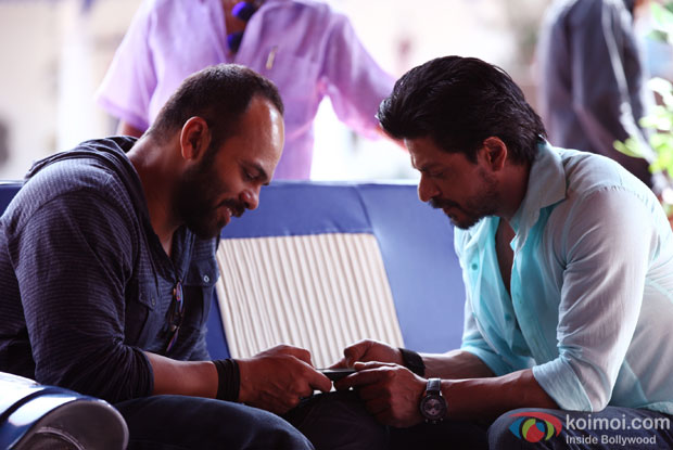 Rohit Shetty and Shah Rukh Khan on the sets of 'Dilwale'