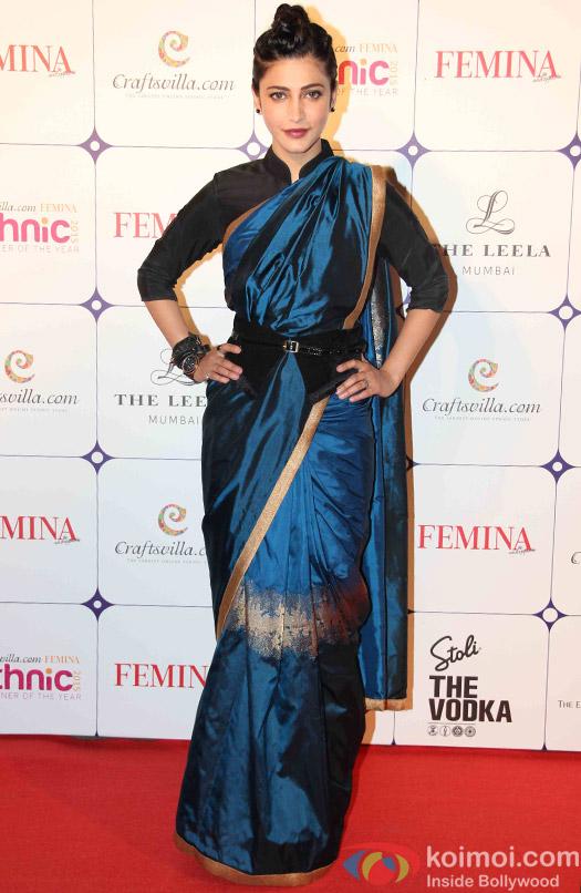 Shruti Hasan during the Craftsvilla Femina Ethnic Designer of the year event