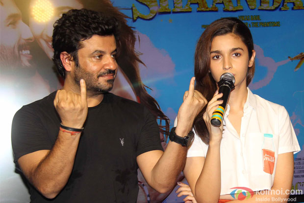 Vikas Bahl and Alia Bhatt during the song launch of movie Shaandaar