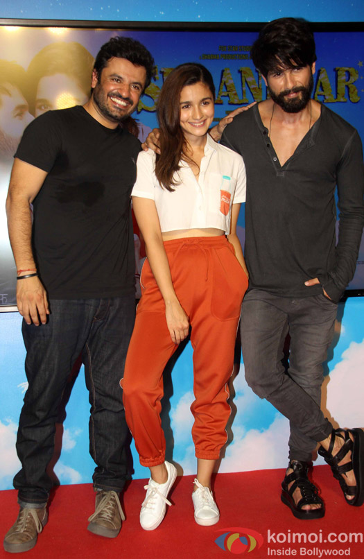 Vikas Bahl, Alia Bhatt and Shahid Kapoor during the song launch of movie Shaandaar