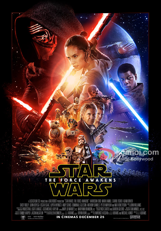 Harrison Ford, Daisy Ridley, Carrie Fisher, Mark Hamill, Oscar Isaac, John Boyega, Adam Driver and Lupita Nyong'o starrer 'Star Wars: The Force Awakens' movie poster