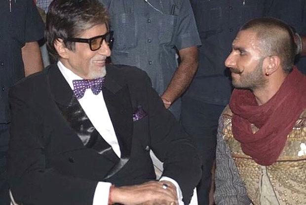 Amitabh Bachchan and Ranveer Singh on the sets of Bajirao Mastani