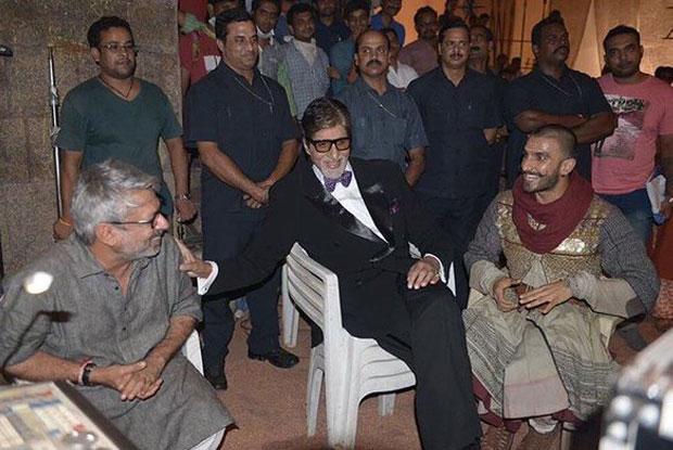 Sanjay Leela Bansali, Amitabh Bachchan and Ranveer Singh on the sets of Bajirao Mastani