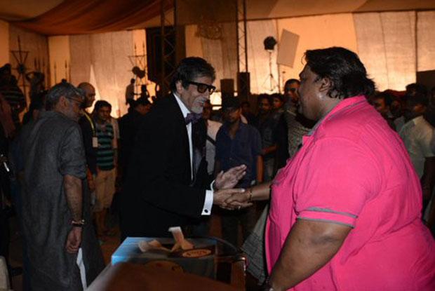 Amitabh Bachchan and Ganesh Acharya on the sets of Bajirao Mastani
