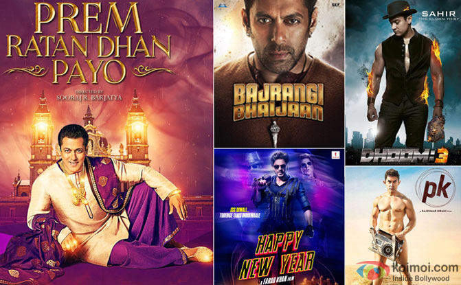 Prem Ratan Dhan Payo, Bajrangi Bhaijaan, Happy New Year, Dhoom 3 and PK movie posters
