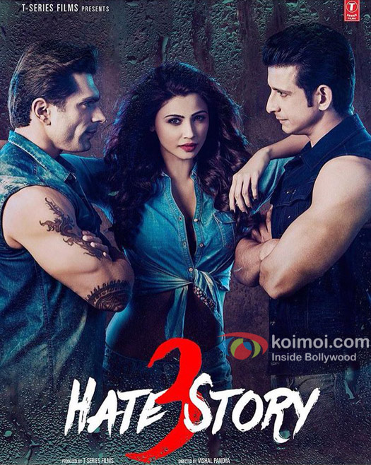 Karan Singh Grover, Daisy Shah and Sharman Joshi in a still from'Hate Story 3' movie poster