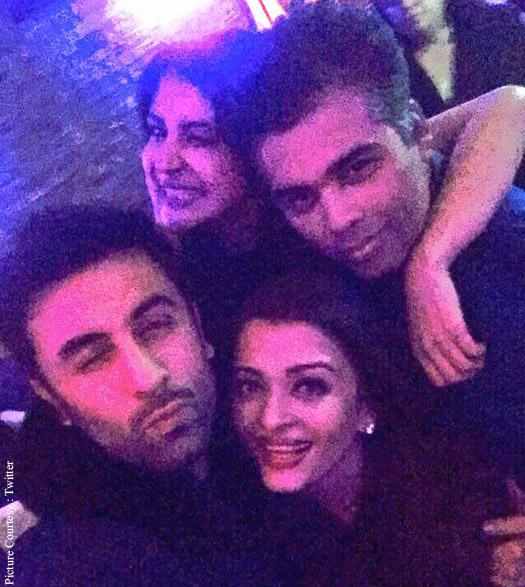 Ranbir Kapoor, Anushka Sharma, Aishwarya Rai Bachchan and Karan Johar on the sets of 'Ae Dil Hai Mushkil'