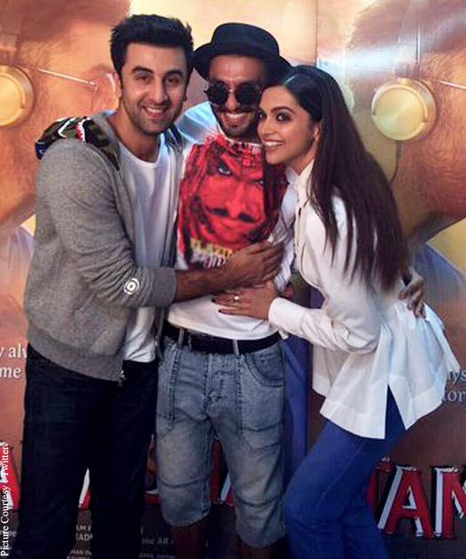 Deepika Padukone posing with her Hotties Ranbir Kapoor and Ranveer Singh