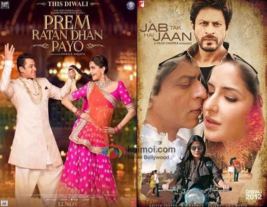 Prem Ratan Dhan Payo and Jab Tak Hai Jaan movie posters