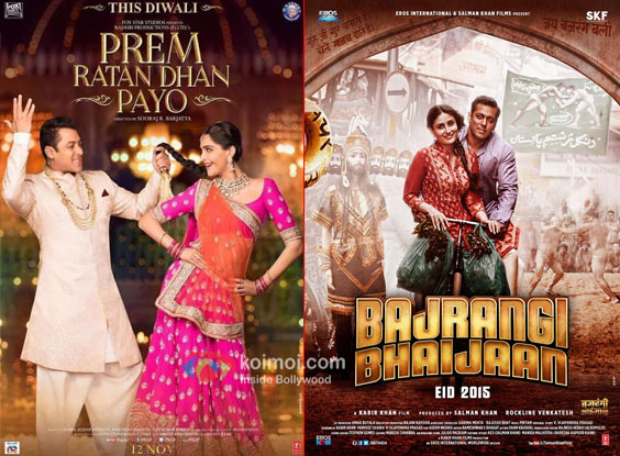 'Prem Ratan Dhan Payo' and 'Bajrangi Bhaijaan' movie posters