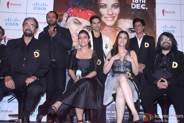 Kabir Bedi, Rohit Shetty, Varun Dhawan, Shah Rukh Khan, Kajol, Kriti Sanon, Varun Sharma and Pritam during the trailer launch of film Dilwale