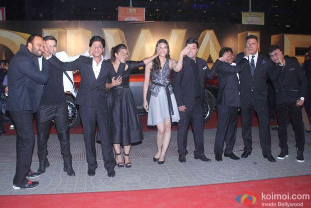 Rohit Shetty, Varun Dhawan, Shah Rukh Khan, Kajol, Kriti Sanon, Varun Sharma, Johnny Lever and Boman Irani during the trailer launch of film Dilwale