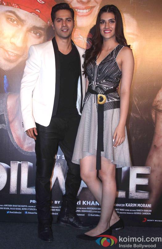 Kriti Sanon and Varun Dhawan during the trailer launch of film Dilwale
