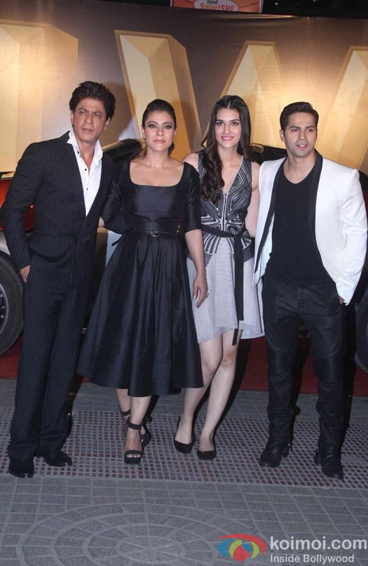 Shah Rukh Khan, Kajol, Kriti Sanon and Varun Dhawan during the trailer launch of film Dilwale