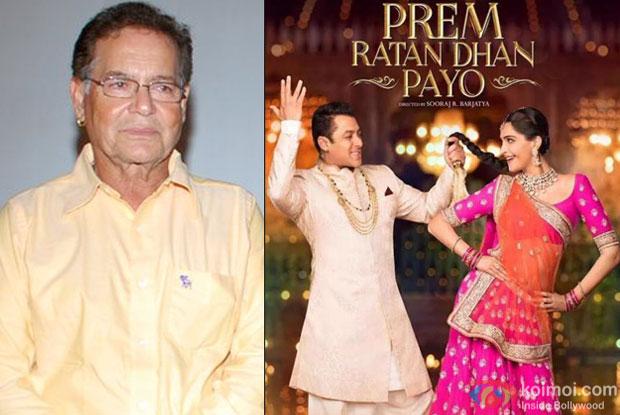 Salim Khan and 'Prem Ratan Dhan Payo' movie poster