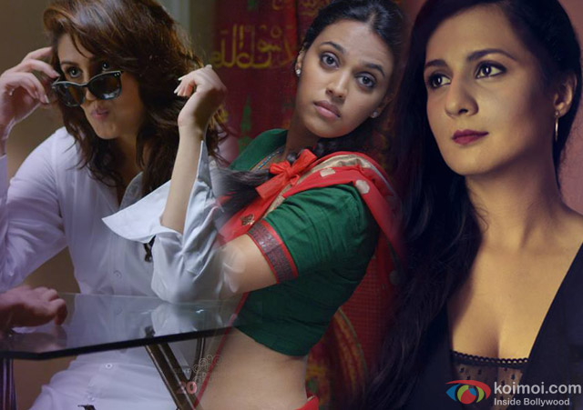 Huma Qureshi, Swara Bhaskar and Pooja Ruparel in a still from movie 'X- Past is Present'