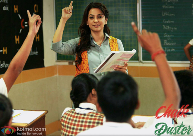 Juhi Chawla in a still from movie 'Chalk N Duster'