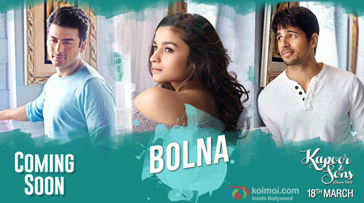 1st Stills Of Song 'Bolna' From Kapoor & Sons Released!