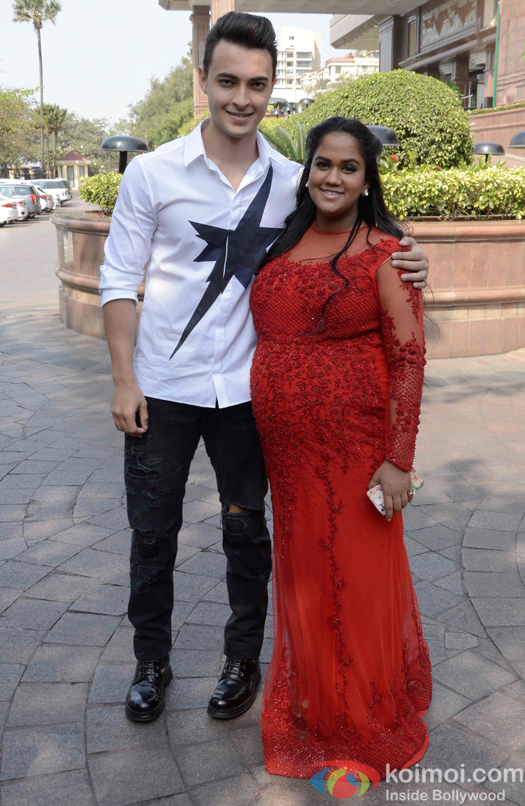 Arpita Khan along with her husband Aayush Sharma during her baby shower ceremony