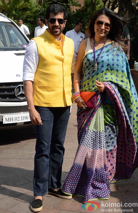 Kabir Khan with his wife Mini Mathur during Arpita Khans baby shower ceremony