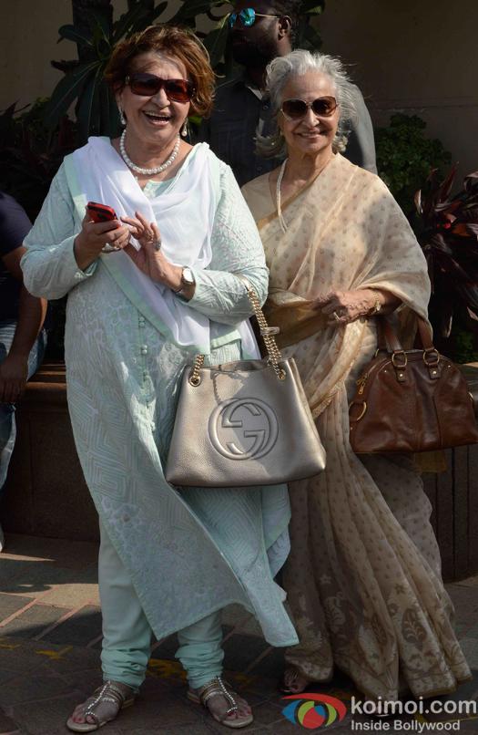 Helen and Waheeda Rehman during Arpita Khans baby shower ceremony