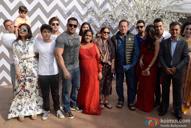 Salman Khan, father Salim Khan and other family members during her baby shower ceremony