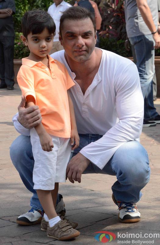 Sohail Khan with his son Yohan Khan during Arpita Khans baby shower ceremony