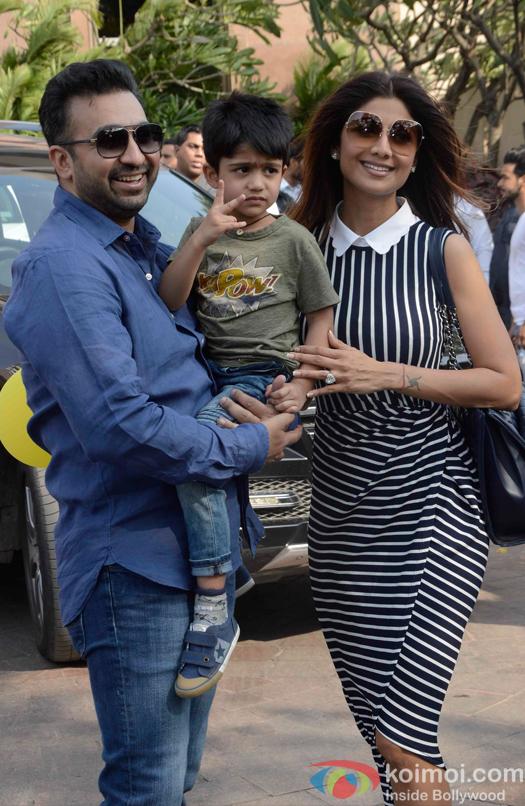 Shilpa Shetty with her son Viaan and husband Raj Kundra during Arpita Khans baby shower ceremony