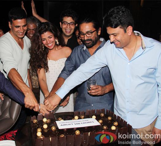 Akshay Kumar, Nimrat Kaur, Raja krishna Menon and Bhushan Kumar celebrate the success of Airlift