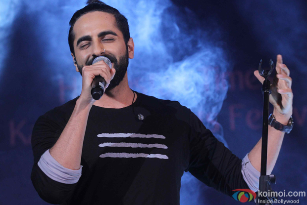Ayushmann Khurrana performs during the closing ceremony of Kala Ghoda Arts Festival