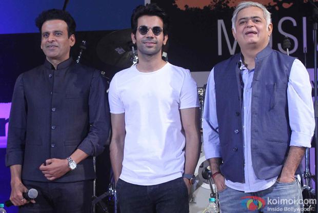 Manoj Bajpai, Rajkummar Rao and Hansal Mehta during the closing ceremony of Kala Ghoda Arts Festival