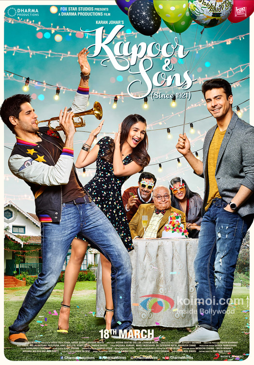 Sidharth Malhotra, Alia Bhatt, Rajat Kapoor, Rishi Kapoor, Ratna Pathak Shah and Fawad Khan in a still from 'Kapoor & Sons' movie poster