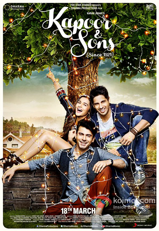 Alia Bhatt, Fawad Khan and Sidharth Malhotra in a still from 'Kapoor & Sons' movie poster