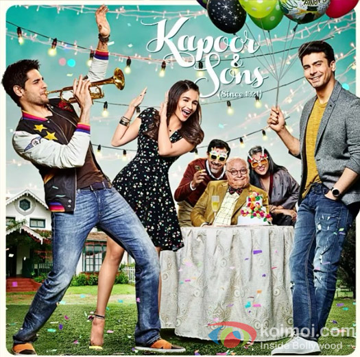 Sidharth Malhotra, Alia Bhatt, Rajat Kapoor, Rishi Kapoor Ratna, Pathak Shah and Fawad Khan starrer Kapoor & Sons : Here's The Jolly Motion Poster