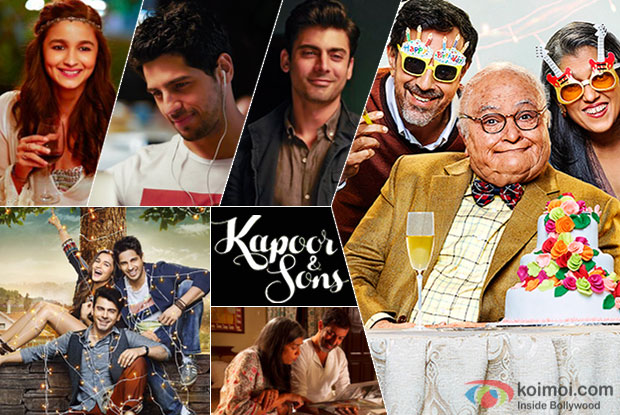 Alia Bhatt, Sidharth Malhotra, Fawad Khan, Rishi Kapoor, Ratna Pathak Shah and Rajat Kapoor in a still from 'Kapoor & Sons'
