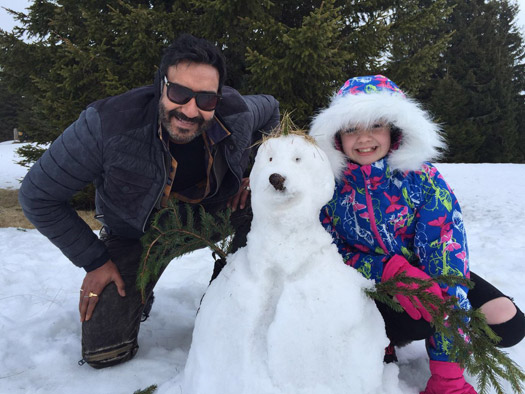 Ajay Devgn and Abigail Eames on the sets of Shivaay