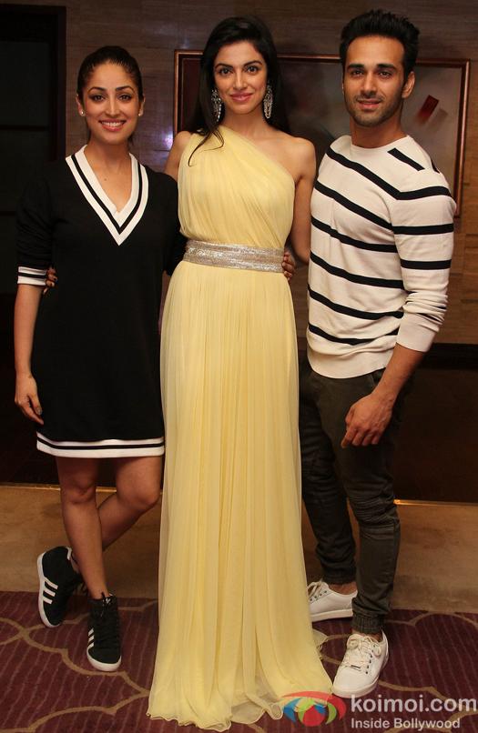Divya Khosla Kumar with actor Yami Gautam and Pulkit Samrat during the success party of film Sanam Re