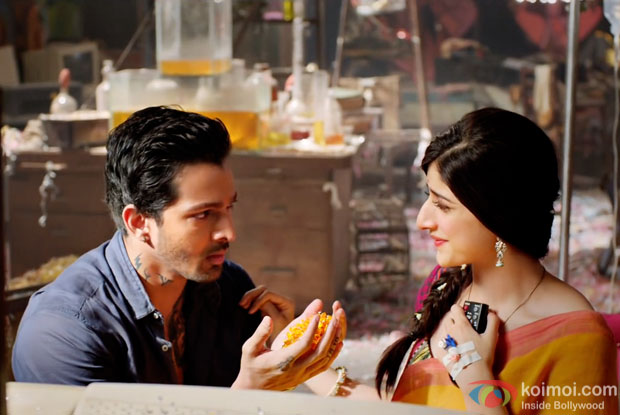 Harshvardhan Rane and Mawra Hocane in a still from 'Sanam Teri Kasam'