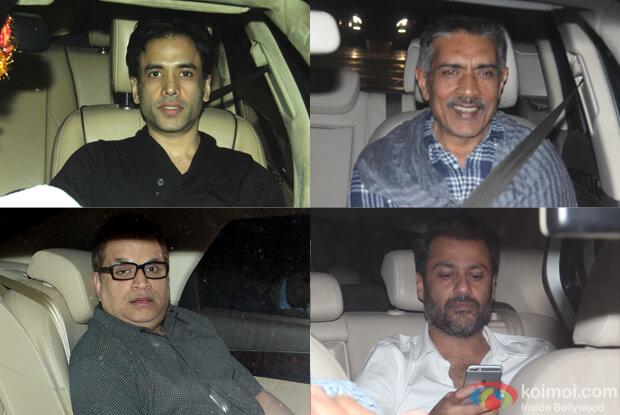 Tushar Kapoor, Ramesh Taurani, Prakash Jha, abhishekh Kapoor during The Screening of film Fitoor