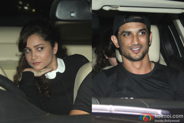 Sushant Singh Rajput and Ankita Lokhande during The Screening of film Fitoor