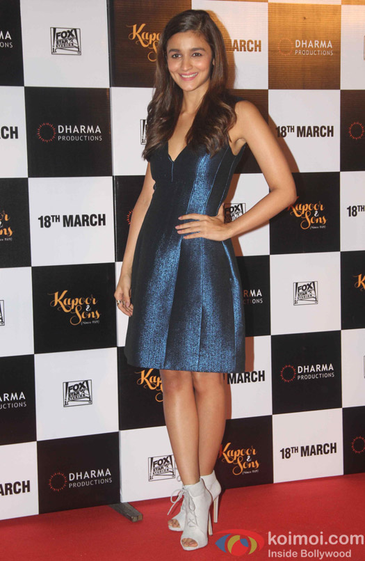 Alia Bhatt during the trailer launch of film Kapoor and Sons