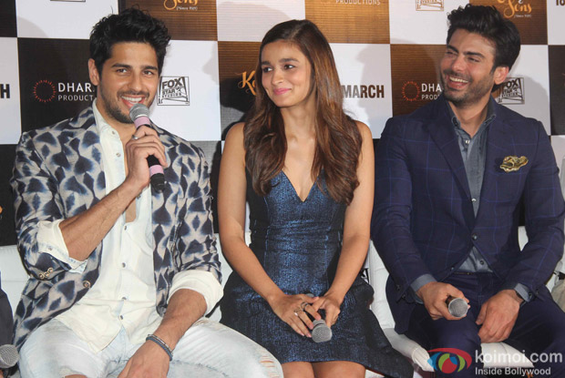 Sidharth Malhotra, Alia Bhatt and Fawad Khan during the trailer launch of film Kapoor and Sons