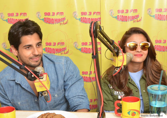 Sidharth Malhotra and Alia Bhatt during the promotion of movie 'Kapoor And Sons' at Radio Mirchi Studio