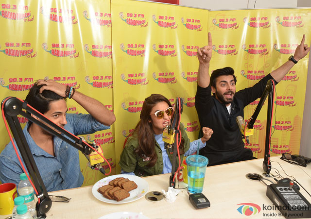 Sidharth Malhotra, Alia Bhatt and Fawad Khan during the promotion of movie 'Kapoor And Sons' at Radio Mirchi Studio