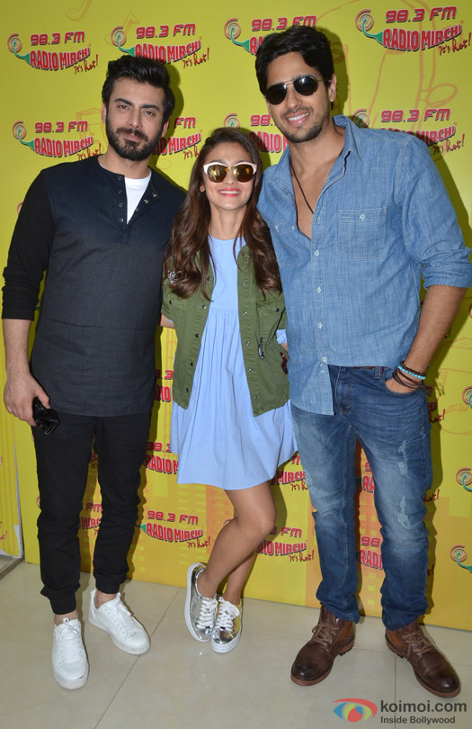 Fawad Khan, Alia Bhatt and Sidharth Malhotra during the promotion of movie 'Kapoor And Sons' at Radio Mirchi Studio