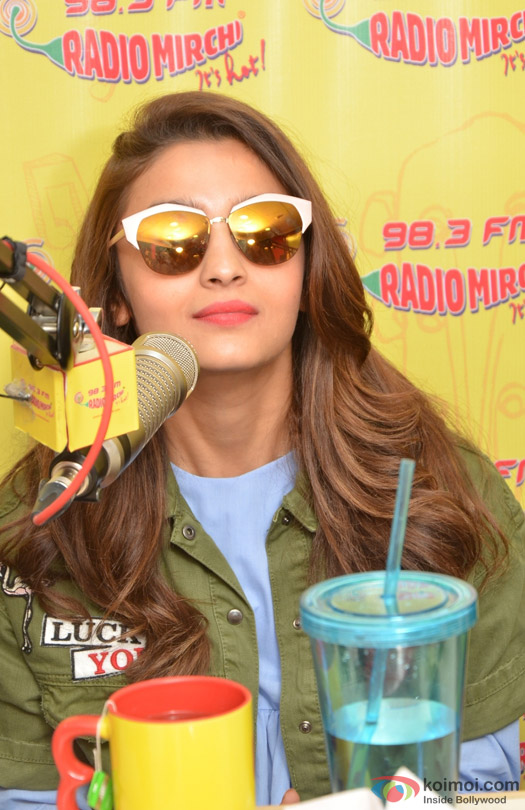 Alia Bhatt during the promotion of movie 'Kapoor And Sons' at Radio Mirchi Studio