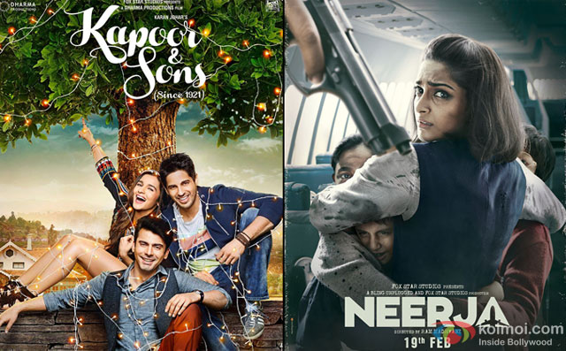 'Kapoor And Sons' and Neerja Movie Poster