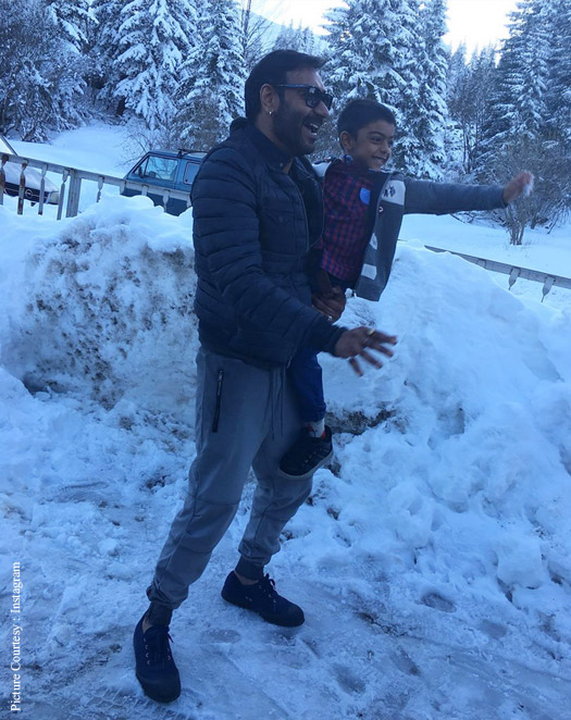 Ajay Devgn with his son Yug at Bulgaria