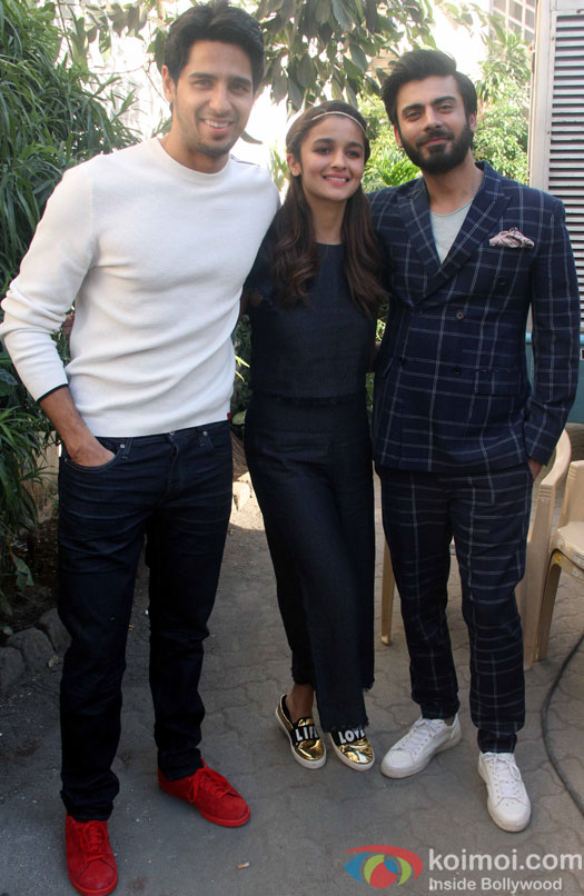 Sidharth Malhotra, Alia Bhatt and Fawad Khan during the media interaction of Kapoor And Sons