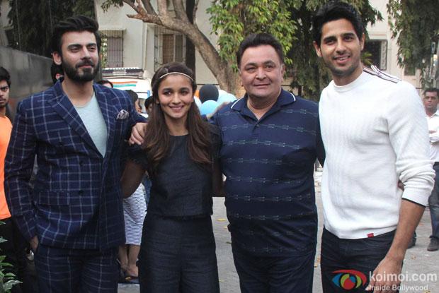 Sidharth Malhotra, Alia Bhatt, Rishi kapoor and Fawad Khan during the media interaction of Kapoor And Sons